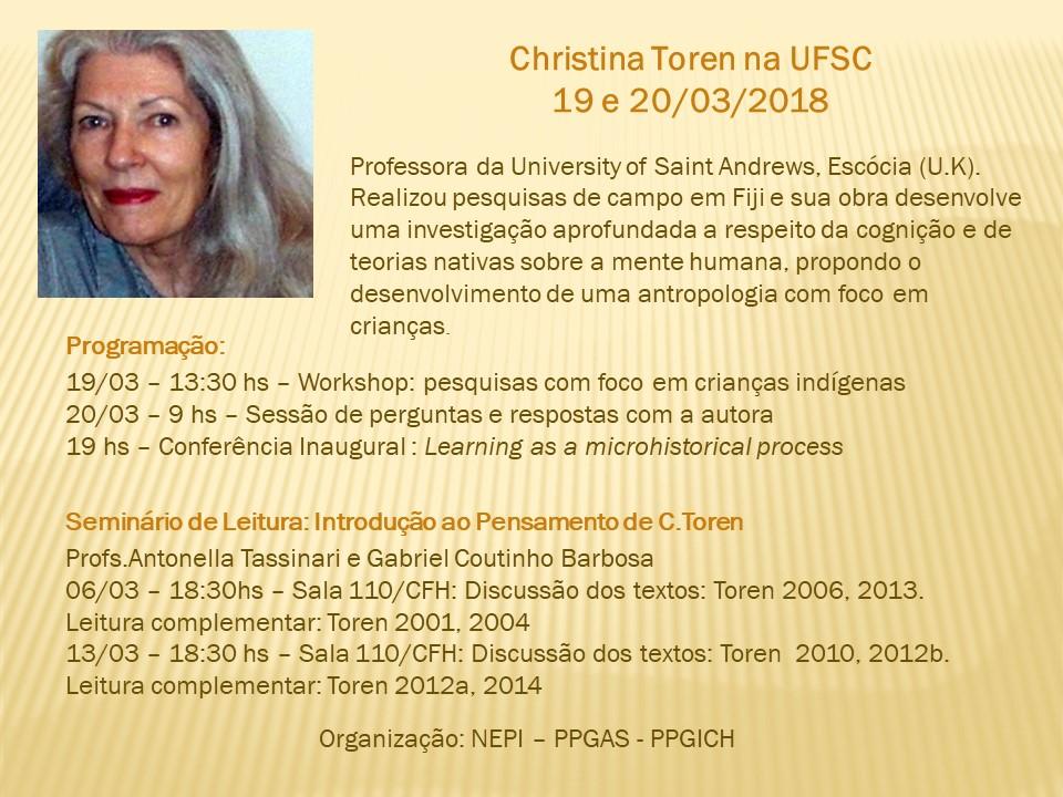 Cristina Toren (profa. da University of Saint Andrews/Escócia) na UFSC